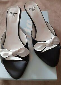 BATA Black & White bow front Spanish leather mules  size 5/ 38