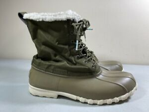 NATIVE GREEN LACE UP LINED ANKLE DUCK BOOTS WOMEN'S SIZE 10 MEN'S SIZE 8