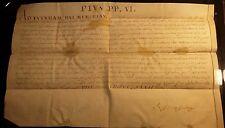 POPE PIUS VI VELLUM BULLA MANUSCRIPT (Papstbulle) - 1782 Papst Papal Pape Papa