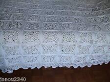 Superbe DESSUS de LIT au crochet fin en coton - fait main - 2,40 m x 1,50 m