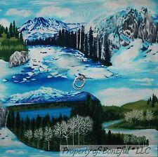 BonEful Fabric FQ Cotton Quilt VTG Blue Green Earth Sea Nature Scenic Tree Water