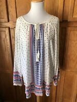 CATO Woman Size 18/20W Tunic Top Blue Boho Long Sleeve Tassels EXC