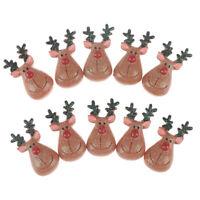 10pcs Resin Flatback Cabochon Glitter Christmas Reindeer Miniature Charm Cr FT