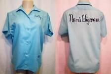 Vintage 60s HILTON Bowling Shirt Button Down Blue Dotty Nans Wigwam M 38