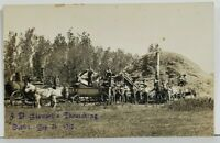 RPPC Farming MARSHALL MN Advert STEWART'S THRESHING OUTFIT 1910 Postcard P01