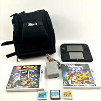 Nintendo 2DS Black and Blue Handheld System w/ 5 Games Mario Yoshi BUNDLE Lot