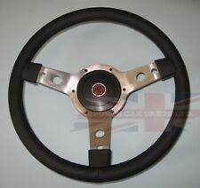 "New 14"" Leather Steering Wheel & Adaptor Austin Healey Sprite 1964-67 Polished"