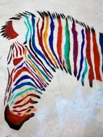 Zebra Multicolor Head Art Wall Print POSTER FR
