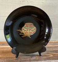 Vintage Couroc Black Lacquer Southwestern Pottery Basket & Wheat Inlaid Bowl