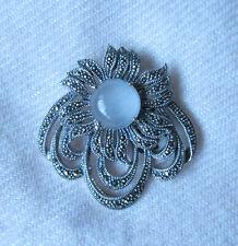 Milky Quartz & Marcasite Sterling Silver Pendant