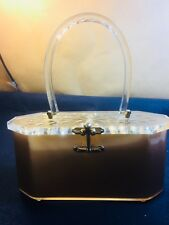 UNUSUAL GOLD COLOR FOR A CHARLES S. KAHN PLASTIC PURSE - OCTAGON SHAPE IS RARE