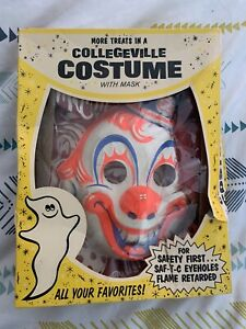 Vintage - Original Box Collegeville Clown Mask And Costume Rob Zombies Halloween