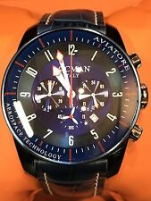 Orologio Locman Aviatore Chrono 44mm 540€ Acciaio Blu/Pelle Scontatissimo Nuovo