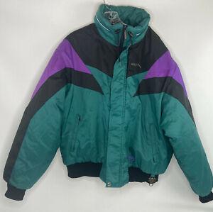Vintage 80's 90 Skidoo Bombardier Rotax Puffer Winter Jacket Size L, Purple, BLK