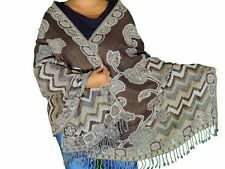 "Brown Ivory Floral Kashmir Wool Shawl Fashion Scarf Evening Dress Wrap Stole 78"""