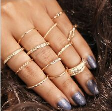 Set of 12 Rings Boho Knuckle Gold Heart Love Diamond Fashion Thumb Stack Jewelry