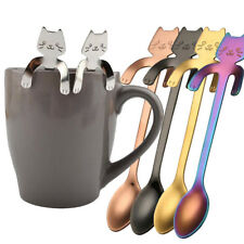 Cute Cat Stainless Steel Spoons Long Handle Latte Coffee Tea Ice Cream Tableware