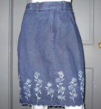LIZ CLAIBORNE Lizwear Jeans DENIM skirt EMBROIDERED 6 blue jean VGUC