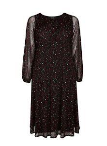 Evans Womens Black Heart Print Mesh Midi Dress Casual Long Sleeve Round Neck