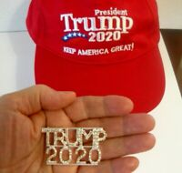 2 Great Products - Large Rhinestone Trump 2020 Pin and Keep America Great Cap