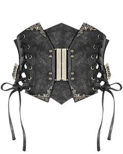 Devil Fashion Steampunk Waist Cincher Corset Black PU Leather Copper Waspie Belt