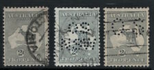 2d Grey Kangaroo 2nd Watermark Punctured OS Roo 's OS NSW x  3 CV $120 SG 24 O18