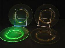 Depression Vaseline Uranium glass Federal Swirl Diana Dessert plate set of 4