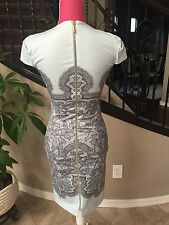 Women's Emilio Pucci Teal Green Lace Print Cocktail Dress Size 34 4 Long Zipper
