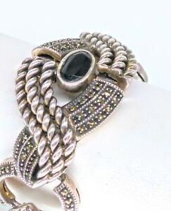 Vintage Judith Jack Signed Art Deco Sterling Silver Marcasite Onyx Bracelet!