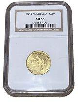 1863 Australia 🇦🇺 (SY) Sovereign 1-SOV Gold Coin AU55 Sydney Mint -RARE TYPE!