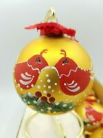 6 Vintage Glass Rauch Hand Painted Gold & Red Christmas Ornaments Partridge 1994
