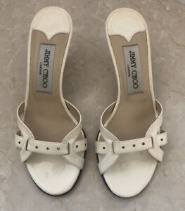 Jimmy Choo Women's Leather Slide On Sandal Heels White Patent Leather Size 5 1/2