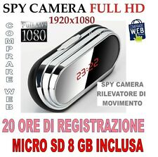 SVEGLIA OROLOGIO + SD 8 GB SPIA SPY CAMERA 1920x1080 MOD. V9 MOTION DETECTION
