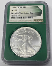1991 AMERICAN EAGLE 1 OUNCE SILVER DOLLAR NGC MS 69  FROM US MINT SEALED BOX