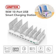 UNITEK 96W 10-Port USB Charging Station Charger Hub 2.4A 2-Port Quick Charge 3.0
