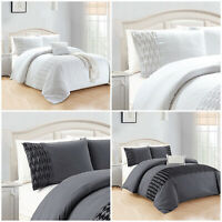 Grey White Duvet Quilt Cover Set Double King Size Bedding Set With Pillow Cases