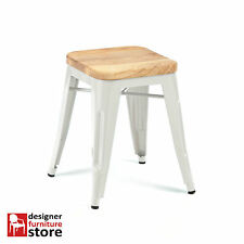Replica Tolix Stackable Metal Stool (With Oak Wood Seat) 45cm - White
