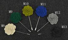 "Handmade Men's Flower Lapel Pin 1.5"" Solid Color Wool Felt Boutonniere ML7"