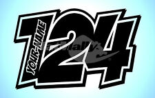 "RACE NUMBERS AND NAME DECALS STICKERS GRAPHICS ""POW"" (x3) MOTORCYCLE CAR"