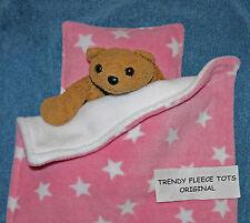 DOLLs BLANKET PILLOW BEDDING SET pink white STARS pram crib BEAR