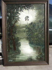 "LARGE OIL PAINTING MISTY RIVER PALM  Florida Genuine MAZZ  40"" & Highwaymen Card"