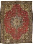Antique Red Traditional 10X13 Muted Distressed Oriental Rug Home Decor Carpet