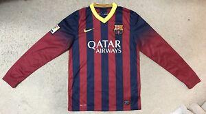 Nike Dri-Fit FC Barcelona FCB 2013-2014 Long Sleeve Jersey Shirt Qatar Small