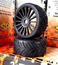 SP 1/8 Belted GT Tires Medium Mounted on Black Rims 17mm Hex  Med RT-4