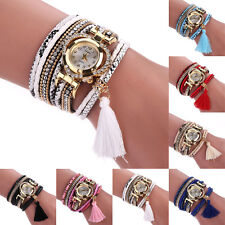 Women Ethnic Braided Crystal Stainless Steel Dial Bracelet Quartz Wrist Watch