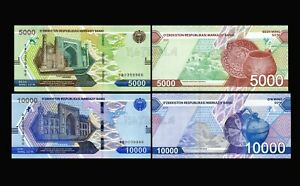 Uzbekistan SET 2 Pcs 5000 (5.000) & 10000 (10.000) Som/Sum 2021 Pick-New UNC