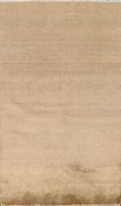 Solid Contemporary Gabbeh Kashkoli Oriental Area Rug Hand-knotted 3'x5' Carpet