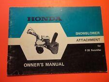 OEM ORGINIAL HONDA SNOWBLOWER G28 F28 ROTOTILLER ATTACHMENT OWNERS MANUAL