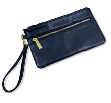 New JO MOUSSELLI Black Leather Beauty Cosmetic Make-up Pouch Bag Wristlet