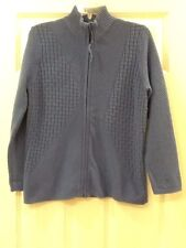 COLDWATER CREEK Womens Solid Blue Zip Mock Neck Sweater Size Small S 100% Cotton